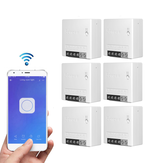 6pcs SONOFF MiniR2 Two Way Smart Switch 10A AC100-240V Works with Amazon Alexa Google Home Assistant Nest Supports DIY Mode Allows to Flash the Firmware