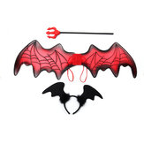 3PCS Halloween Decoration Wings + Capelli Banda + Fork Toys Cosplay Halloween Party