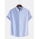 Mens Casual Patchwork Striped Stand Collar Short Sleeve Shirts