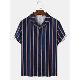 قميص رجالي بياقة رفيير مخطط عموديًا بأكمام قصيرة