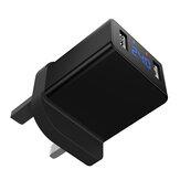 Bakeey Dual USB-oplader 5V / 2.4A Digitaal display Slimme identificatie UK-stekker Smart Wall-reisladeradapter Snel opladen voor iPhone 12 12Pro Huawei P40 Pro