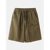 Mens Casual Cotton Drawstring Multi Pockets Cargo Shorts