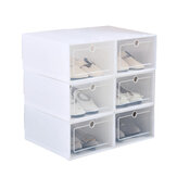 6Pcs Plastic Shoebox Drawer Shoes Storage Box Stackable Case Tidy Display Shoes Organizer