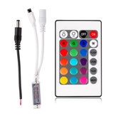 24 Keys Wireless IR remoto Controlador com DC Male Conector para RGB LED Strip Light DC12V