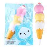 Squishies Pen Cap Ice Cream Cone Squishy Slow Rising Jumbo With Pen Stress Relief Toys Student Office Gift