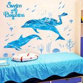Przedszkole Basen Cartoon Naklejki Ścienne Łazienka Dekoracja Łazienka Delfin Ryby Morskie Wodoodporne Naklejki Xl7205