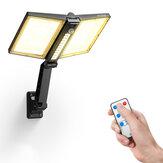 BlitzWolf® BW-OLT8 Wasserdichter IP64 faltbarer winkelverstellbarer Solarstrahler mit zwei Sonnenkollektoren, 3 Farbtemperaturen, bis zu 500 Lumen, PIR Bewegungssensor, Fernbedienung