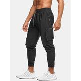 Mens tinta unita multi tasca riflettente coulisse sport Carico jogger Pantaloni