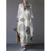 Original              Women Retro Cotton Print 3/4 Sleeve Loose Baggy Casual Maxi Dresses With Pocket