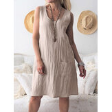Women Solid Color Cotton Pockets Sleeveless Dress