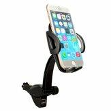 Supporto per caricatore per auto a 360 ° Montare 2 Base USB per iPhone 6 Plus 5 Galaxy Samsun