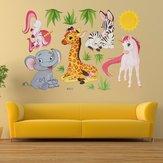 Bande dessinée girafes éléphant animal herbe chambre paroi amovible maison autocollant décoration