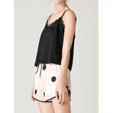 Women Black Lace V-Neck Sleeveless Vest Polka Dot Shorts Home Smooth Pajama Set