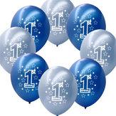 10 Pcs Per Set Ulang Tahun Anak Biru Ulang Tahun Pertama Dicetak Balon Pearlised Balon Dekorasi Natal