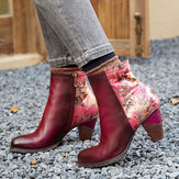 SOCOFY Retro Stitching Printed Flowers Pattern Zipper Warm Lined High Heel Ankle Boots