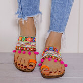 LOSTISY Women Bohemian Embroideried Toe Ring Soft Sole Summer Casual Flat Sandals