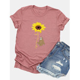 Women Casual Cartoon Sunflower Printed Short Sleeve O-neck T-Shirt