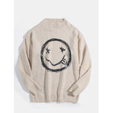 Mens Smile Face Print Crew Neck Knit Cotton Casual Pullover Sweaters