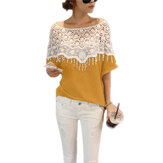 Casual Women Lace Crochet Hollw Out Batwing Mouw Blouse