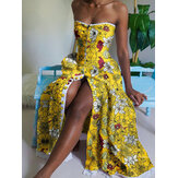 Women Floral Print Button Up Sleeveless Slim Bandeau Maxi Dresses