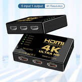 Bakeey HDMI Audio Video Splitter Adapter 5 In 1 Out 4K * 2K HD Audio Video Synchronization Button Switcher For Nootebook DVD Player TV