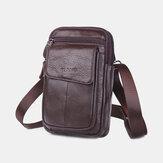 Men Genuine Leather Phone Bag Waist Bag Belt Bag 7 inch Phone Bag Shoulder Bag