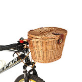BIKIGHT Trendy Classic Removable Wicker Cycling Bicycle Front Basket Box Bike Basket With Cover