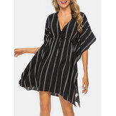 Plus Size Women Striped Front Tie Bat Sleeve Loose Sun Protection Cover Ups