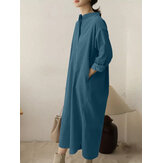Plus Size Women Corduroy Stand Collar Side Split Vintage Shirt Maxi Dresses