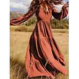 Dames retro effen kleur terug ritssluiting bladerdeeg mouw losse casual maxi jurk