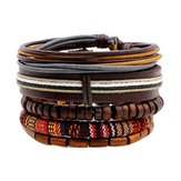 Retro Multilayer houten kraal lederen verstelbare heren armband