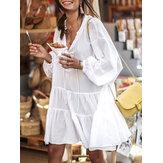 Женщины Vacation Cotton Solid Color V-образным вырезом на шнуровке Повседневная свободная юбка Кукла