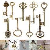 9 Adet Antik Vintage İskelet Anahtarları Bronz Charm Kolye DIY Mücevher Yapımı Için