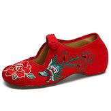 Peacock Chinese Haftowane Klamry Slip On Folkways Flat Shoes
