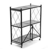 3/4/5 Layers Folding Shelf with Wheel Multifunctional Carbon Steel Storage Rack Kitchen Tool for Living Room Bedroom