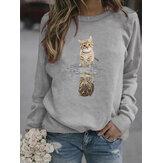Women Cartoon Animal Cat Print Pullover Long Sleeve Cute Sweatshirts