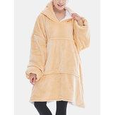 Women Flannel Fleece Lined Thicken Pullover Blanket Hoodie WInter Loose Homewear