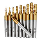 Drillpro 10 pcs Revestimento de Titânio 1.5-6.0mm HSS 4 Flute End Mill Fresa 6mm Shank CNC Brocas