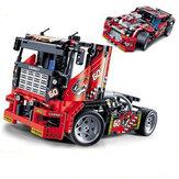 Decool 3360 608pcs سباق شاحنة سيارة 2 في 1 Transformable نموذج بناء كتل اللعب مجموعات DIY اللعب مع صندوق