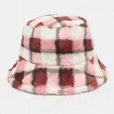 Unisex Lamb Hair Kontrastowy kolor Ciepły Casual Couple Hat Bucket Hat