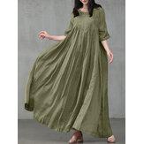 Women Vintage Cotton Solid Color Pleats Half Sleeve Swing Maxi Dresses