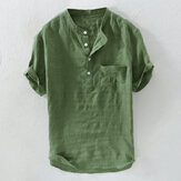 Mens Casual Loose Solid Color Pocket Cotton Shirts