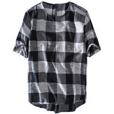 Męskie Plaid Cotton Casual Loose T-Shirts Summer Topy