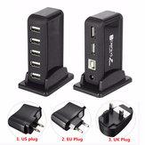 HOT 7-poorts USB 2.0 Hi Speed Multi Hub-uitbreiding met voedingsadapter