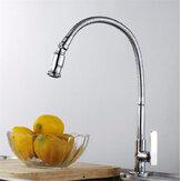 Kuchyňský dřez Jednoduchý pákový faucet Flexibilní chrom mosaz Vytáhněte pružinový kohoutek
