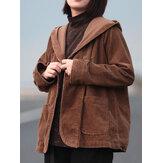 Kadın Retro Saf Renk Kapşonlu Uzun Kollu Kadife Mont