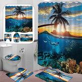 Cortina de chuveiro de banheiro Praia Tree Printing Tapete de banheiro à prova d'água Conjunto de tapete de banheiro antiderrapante para decoração de banheiro