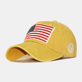 Unisex Cotton Made-old Classical Casual America Flag Pattern Sunvisor Sun Hat Baseball Hat