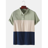 Breathable Cotton Color Block Short Sleeve Mens Henley Shirts