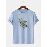 Мужская футболка с коротким рукавом из 100% хлопка с графическим изображением дерева на груди